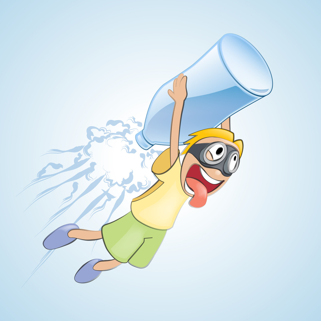Boy flies with bottle. Vector illustration.