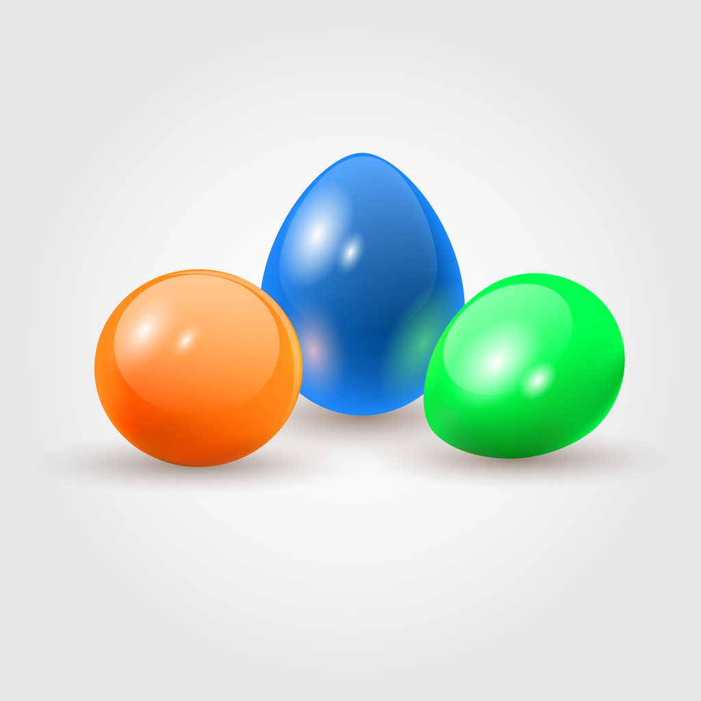Colorful easter eggs. White bacground.