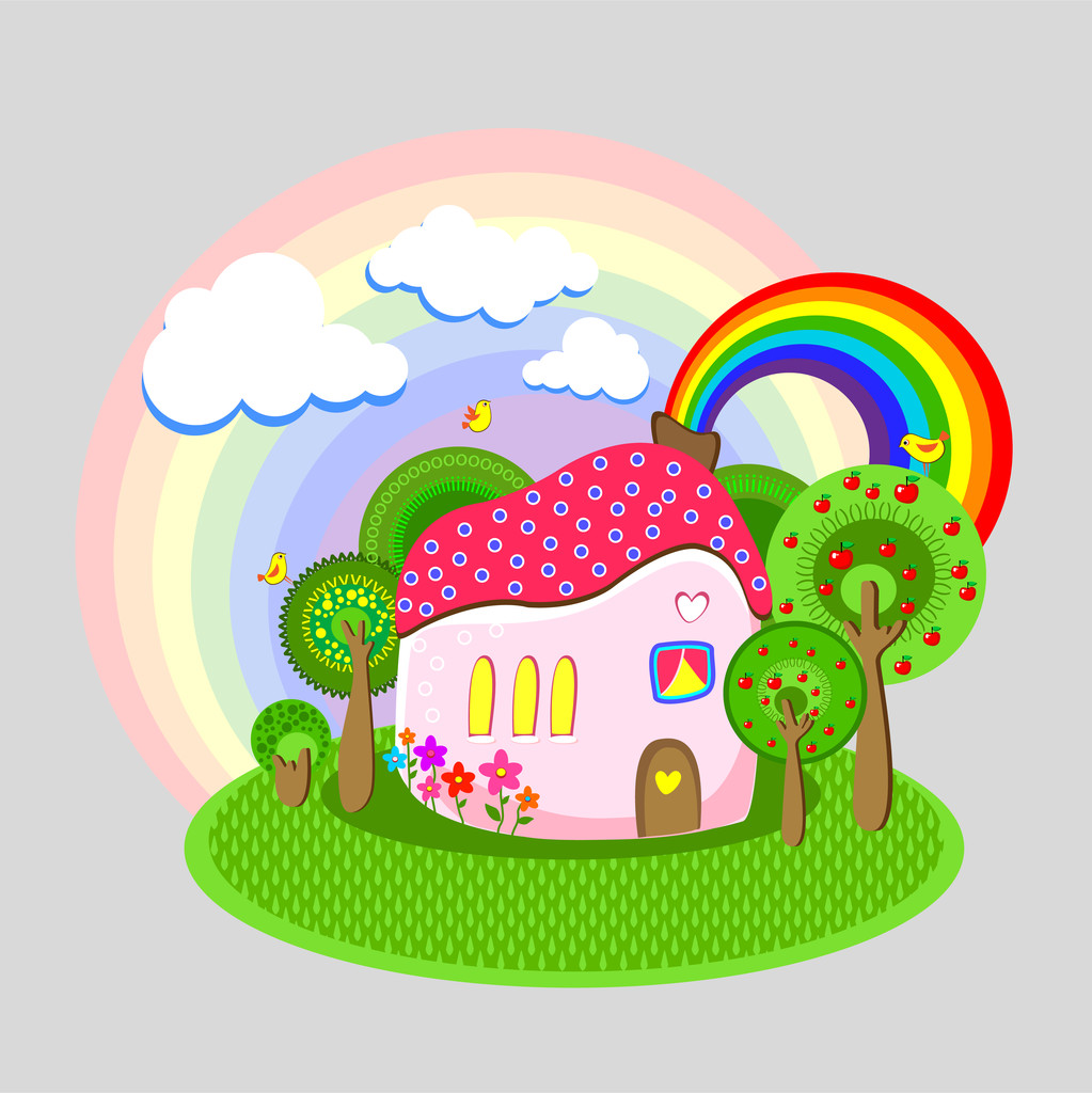 Vector illustration of house with rainbow.