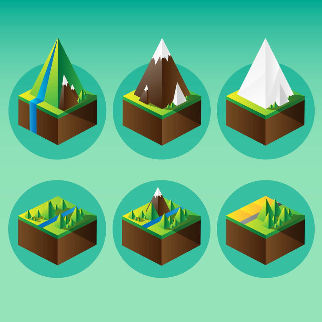 Mountain graphic elements. Vector illustration.
