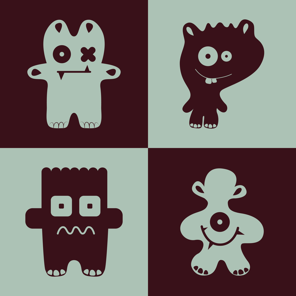 Vector collection of cartoon funny monsters.