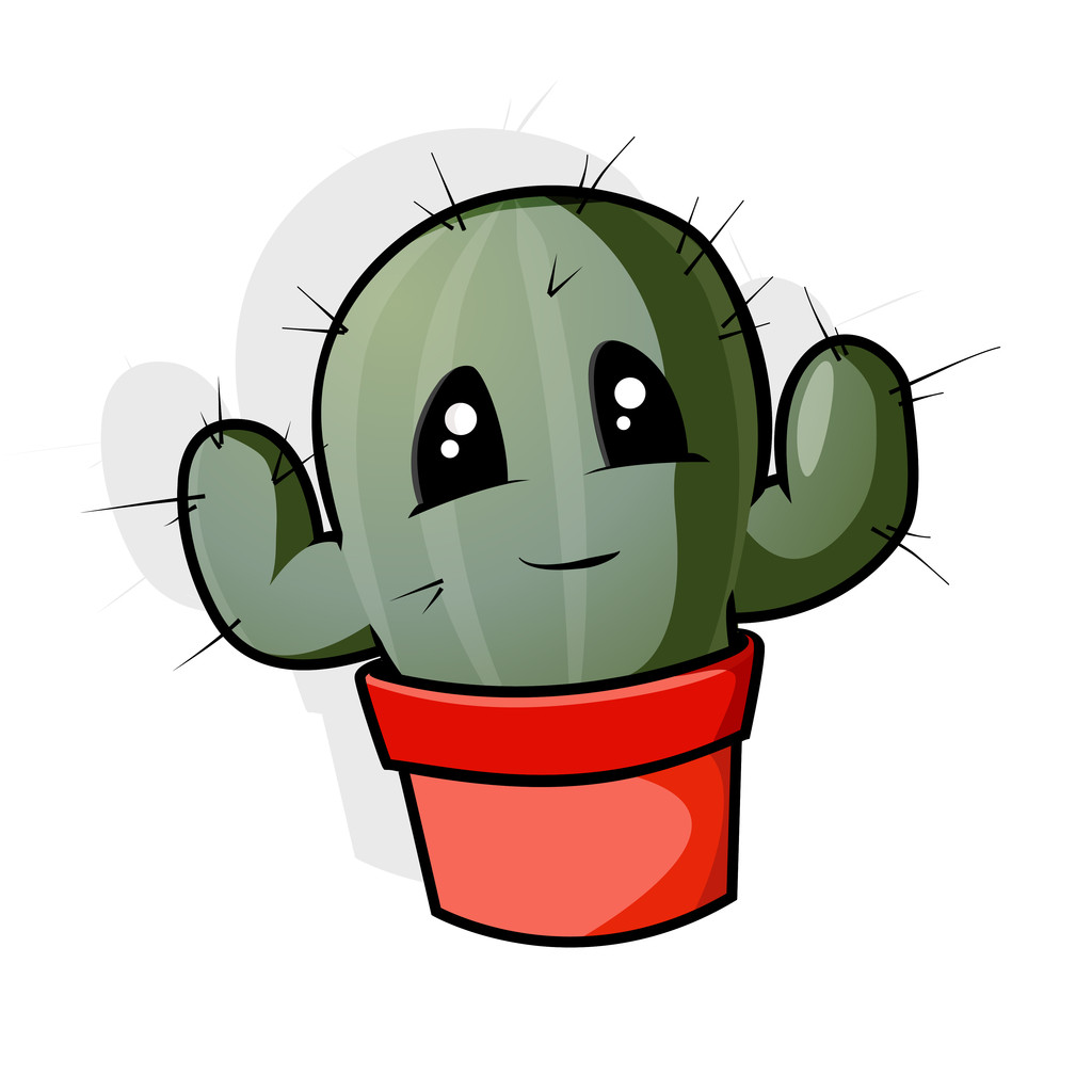 A green cartoon cactus in a pot
