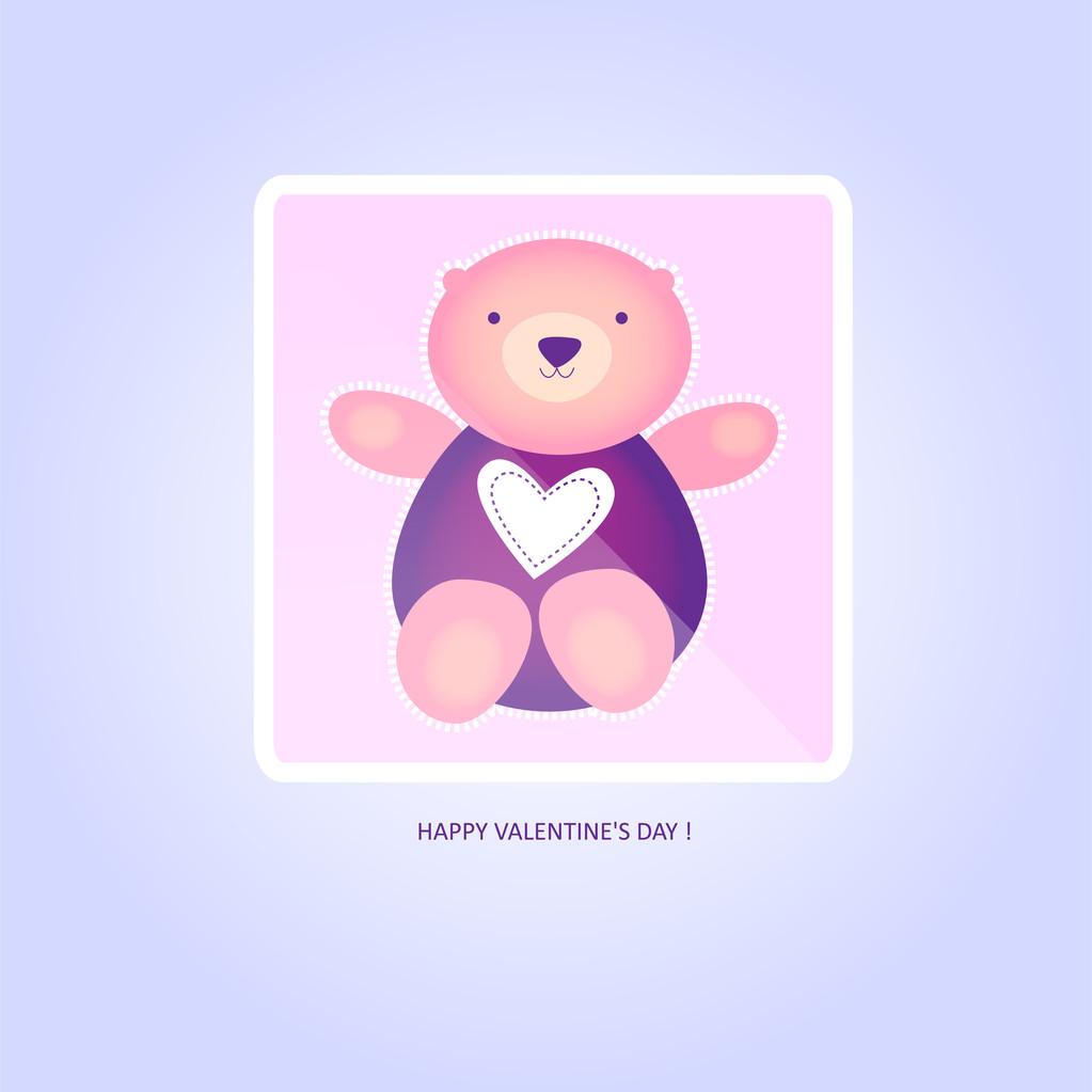 Cute valentine Teddy Bear. Vector illustration.