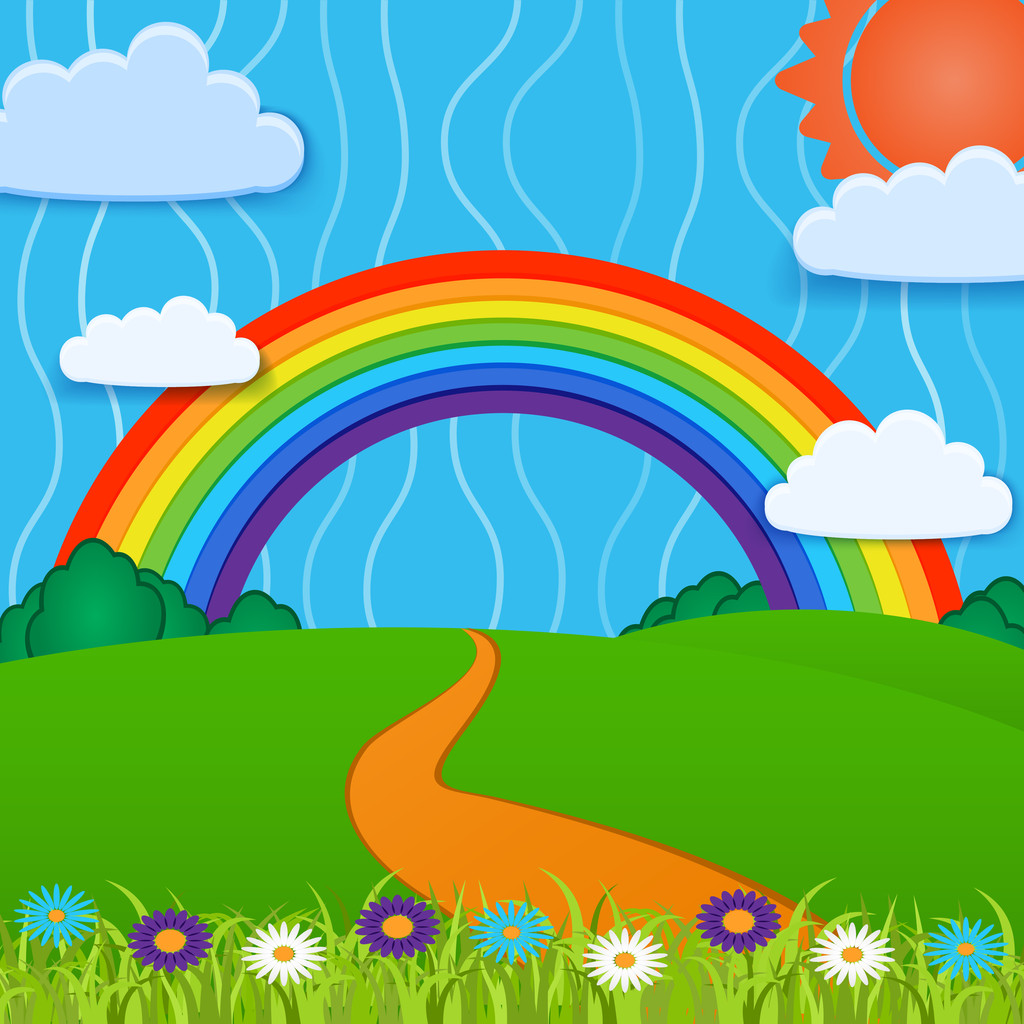 Vector background with rainbow.