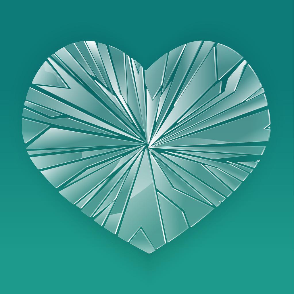 Broken glass heart. Vector illustration.