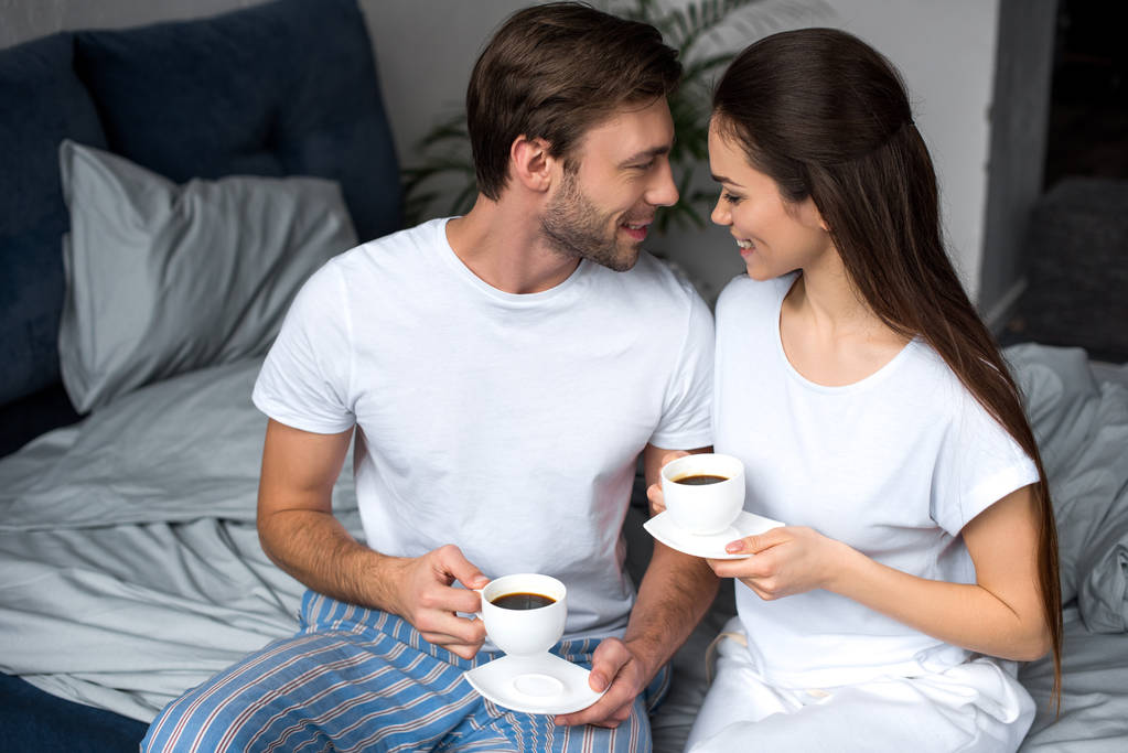 Romance husband wife and bed Shirt on