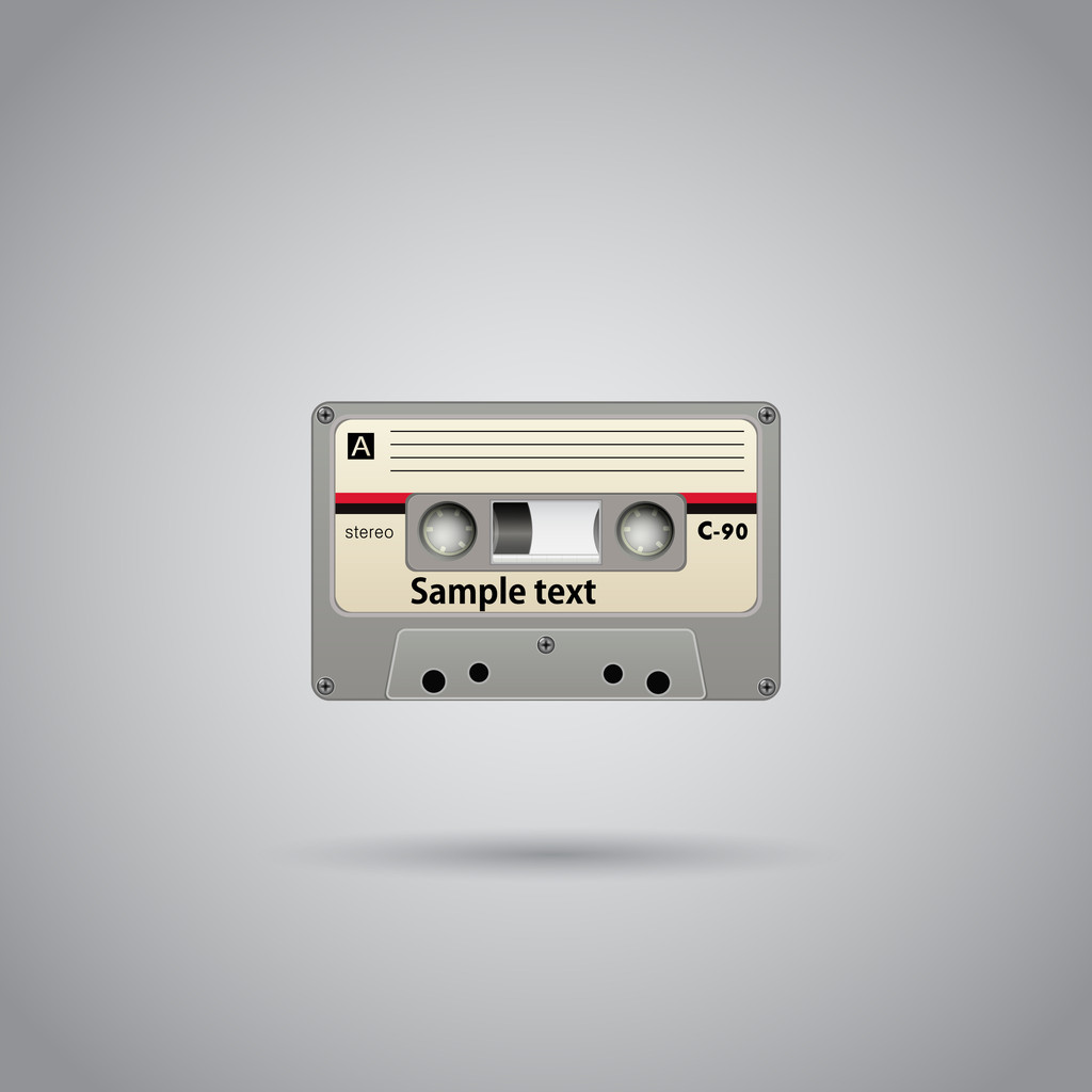 Old-school cassette tape record with copyspace. Vector