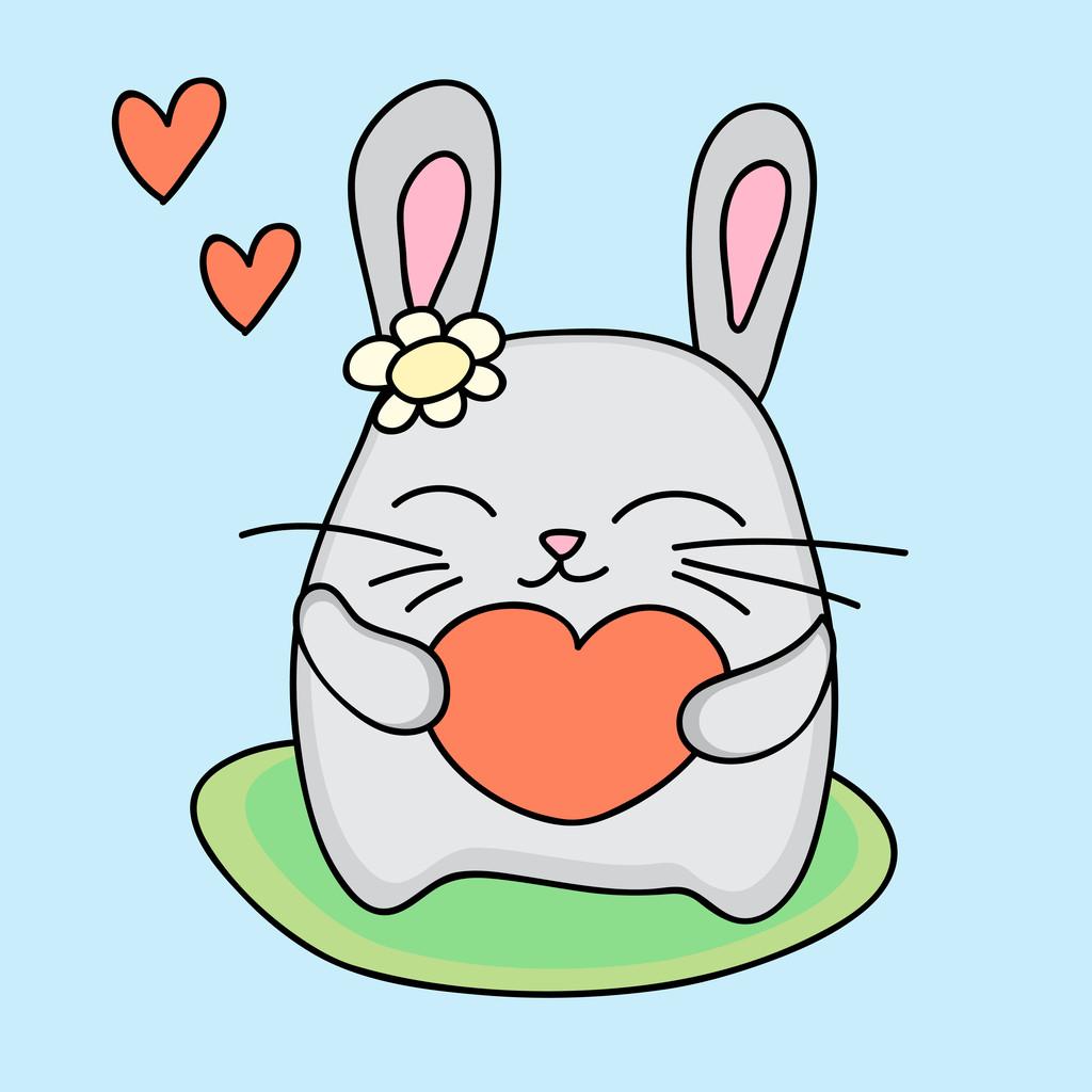 Lovely rabbit holds love heart - vector illustration