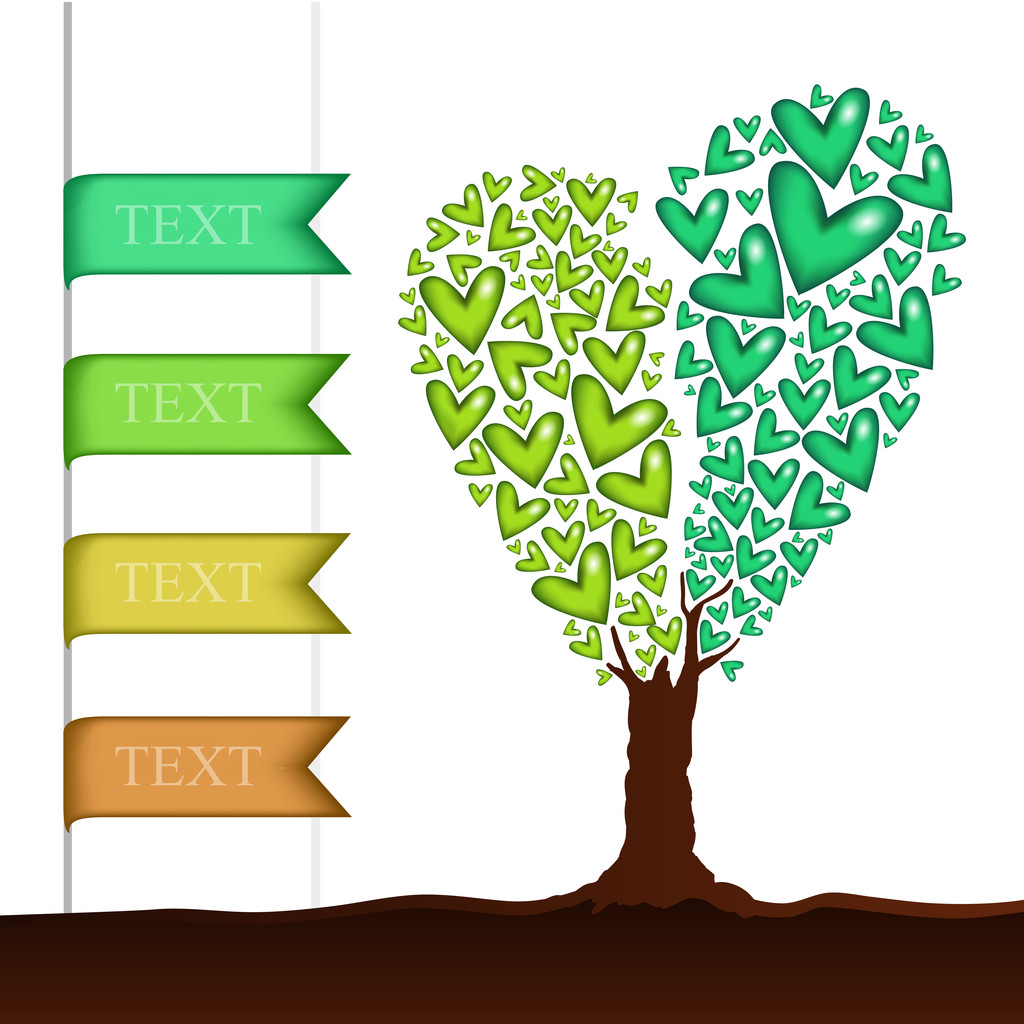 Vector background with heart shaped tree.