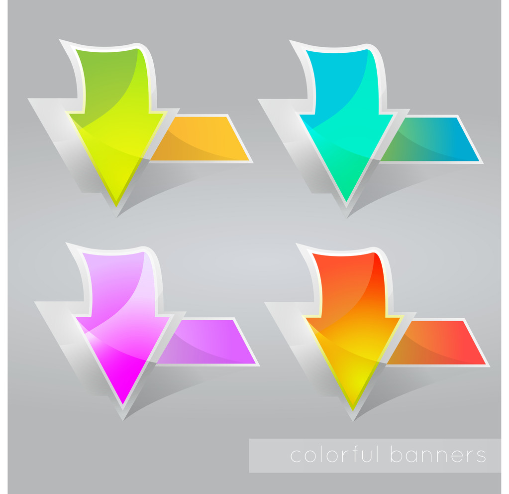 Abstract colored banners with arrows. Vector illustration.
