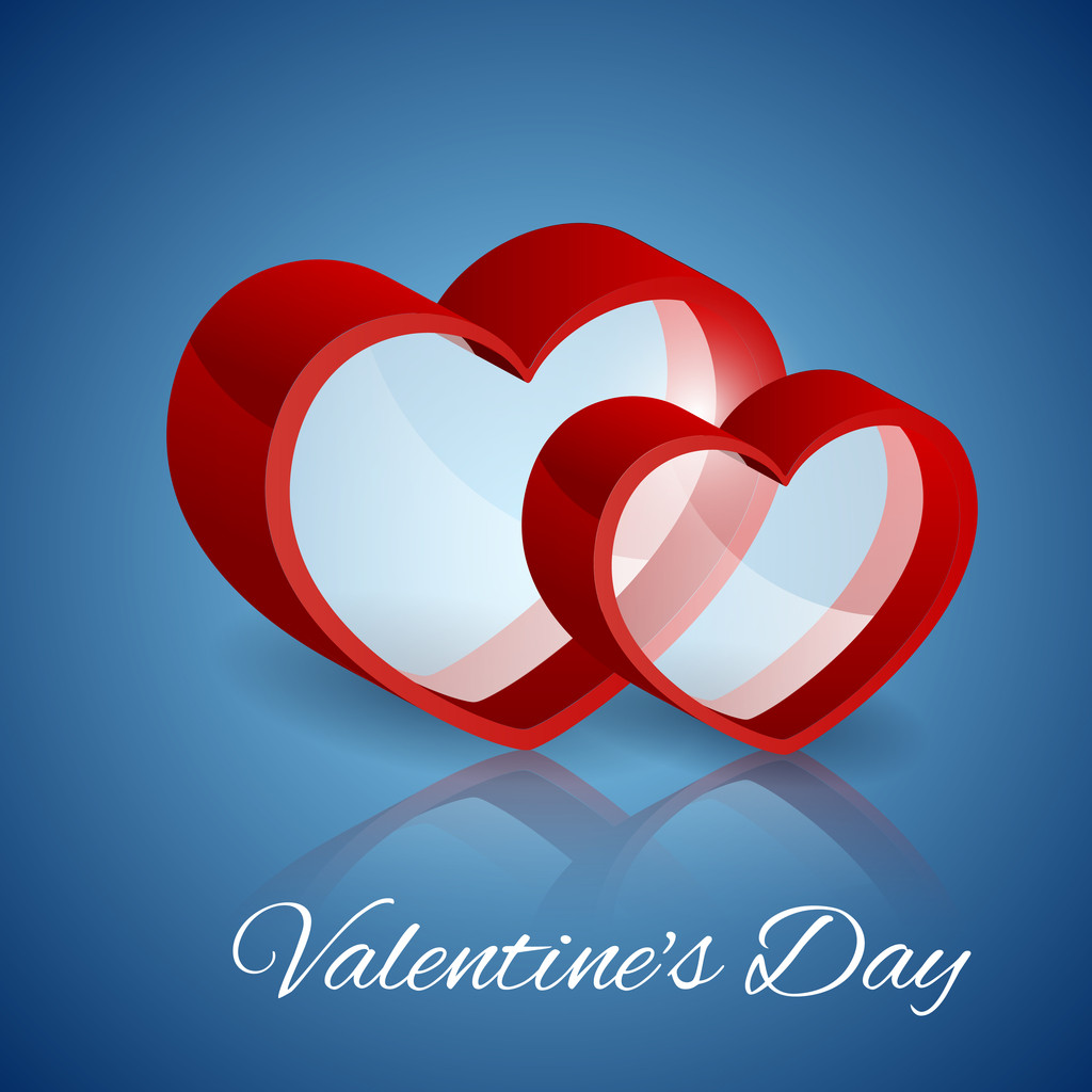Vector background with glass hearts for Valentine's day.