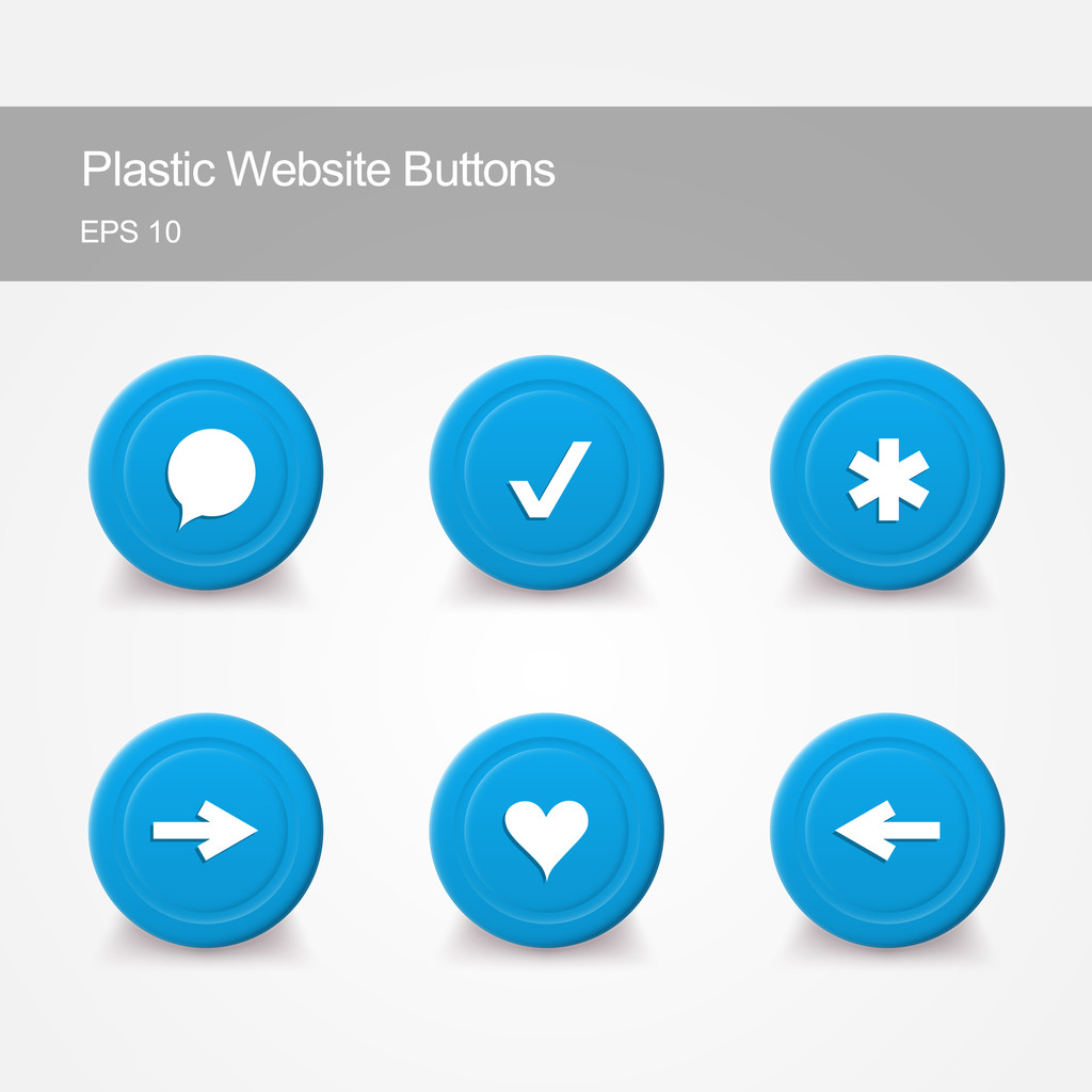 Plastic website buttons with icons