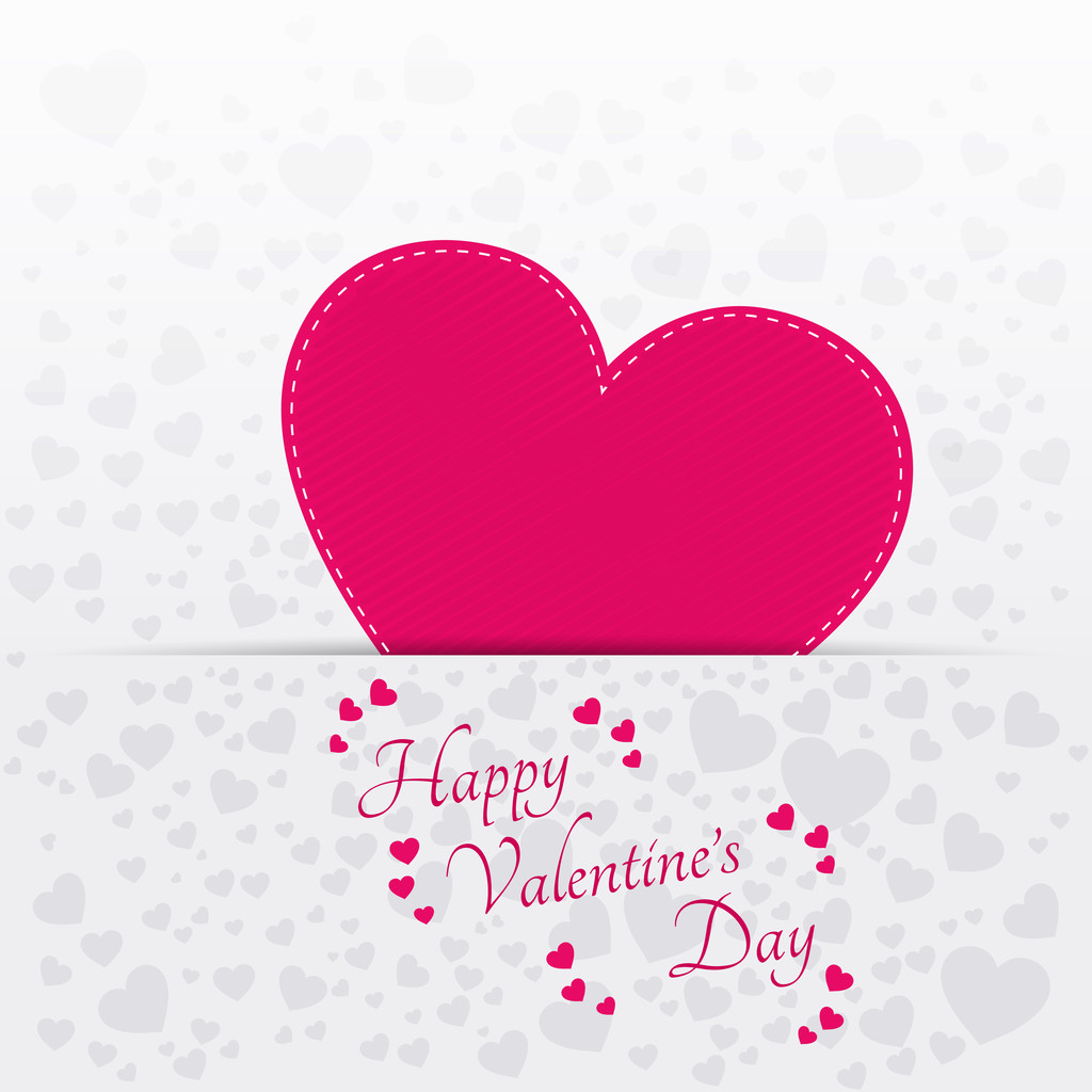 Vector greeting card for Valentine's day with pink heart.