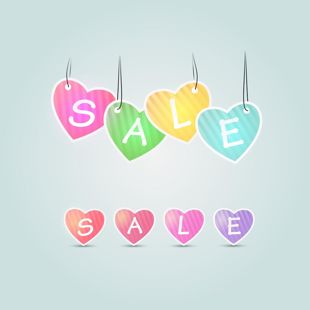 Colorful sale vector hearts. Sale concept