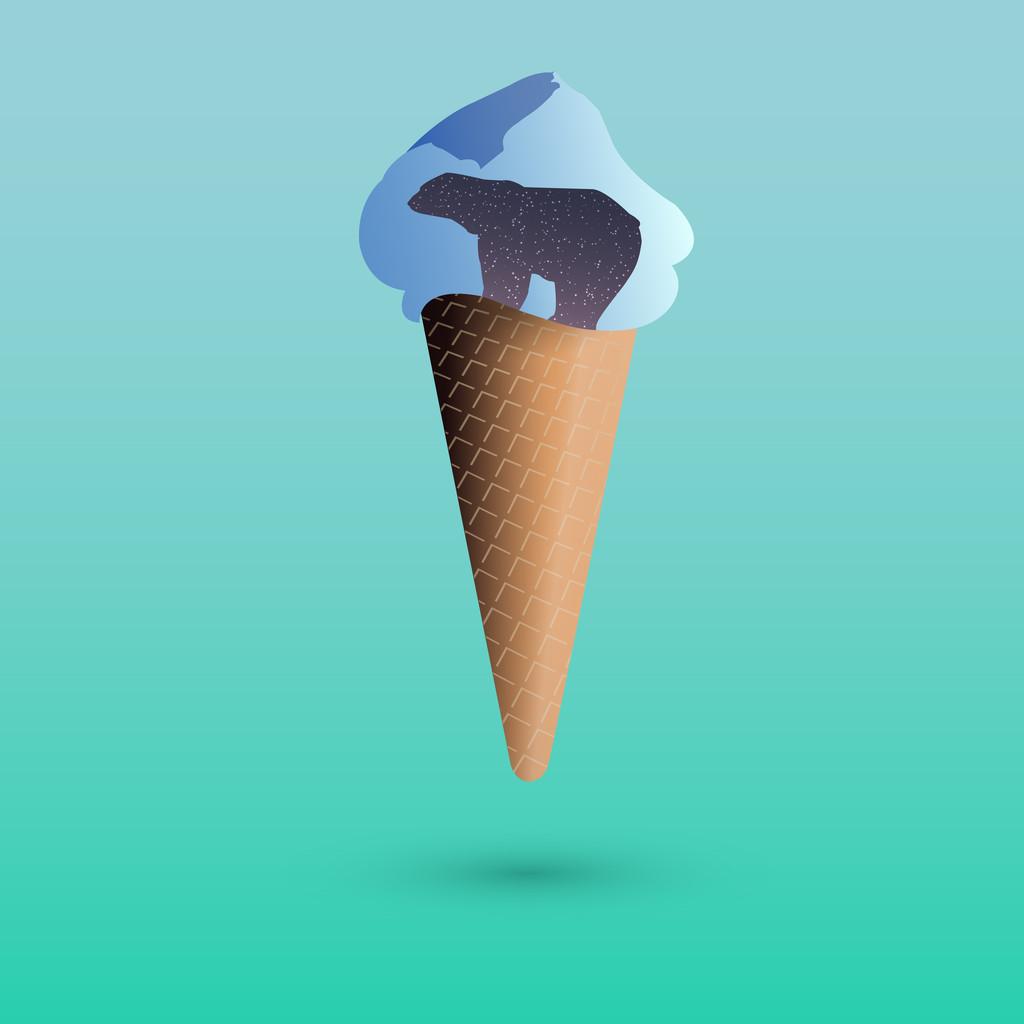 Vector illustration of ice creame with polar bear.