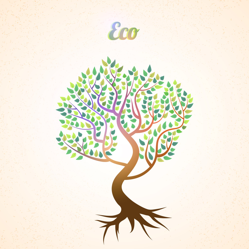 Vector abstract tree with green leaves