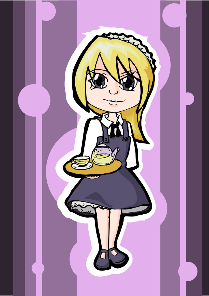 Blonde waitress, vector design