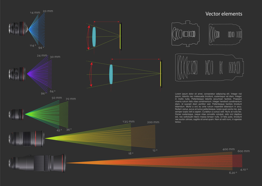 Set of vector infographic elements with some lens