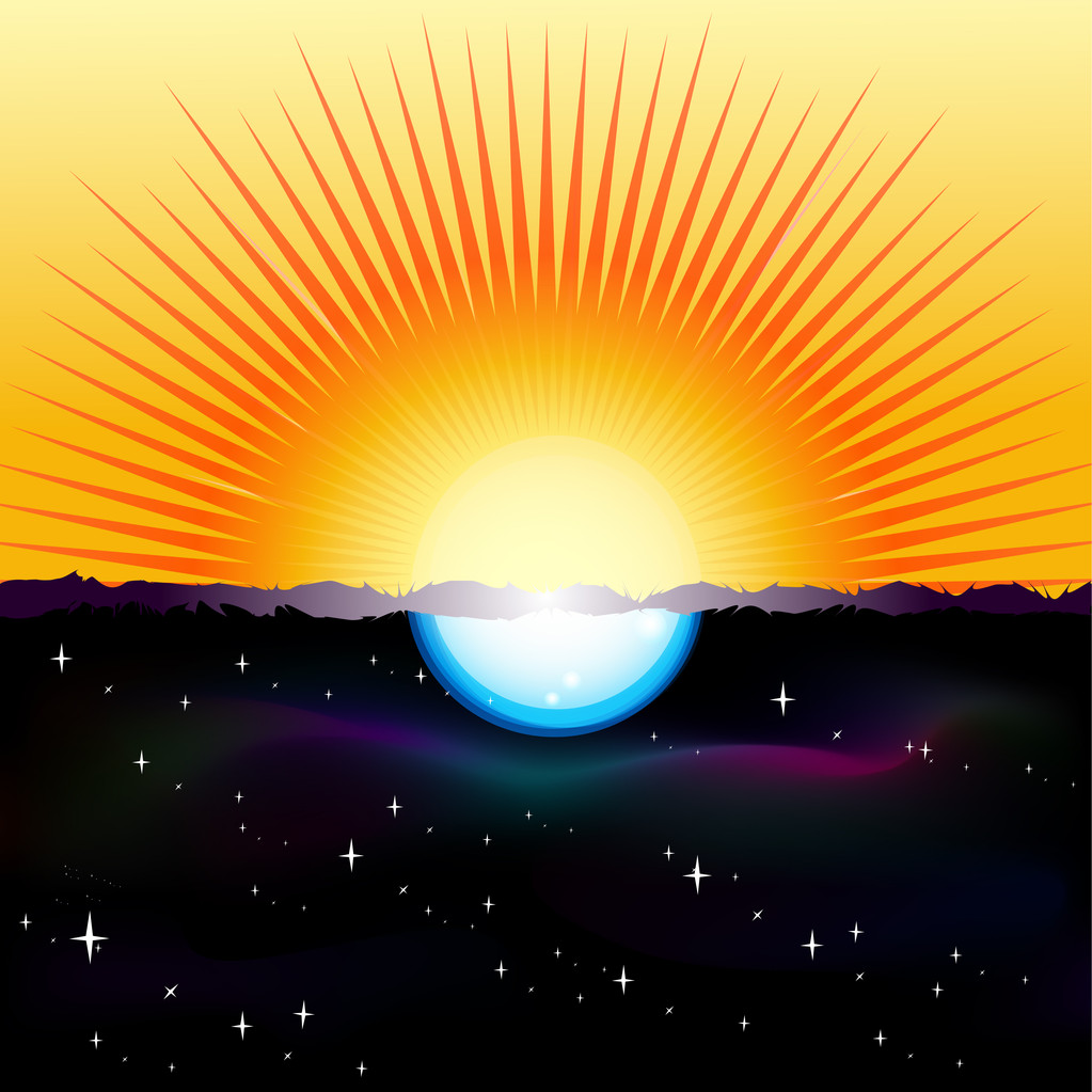 Vector illustration of a split-screen showing the Sun and the Moon