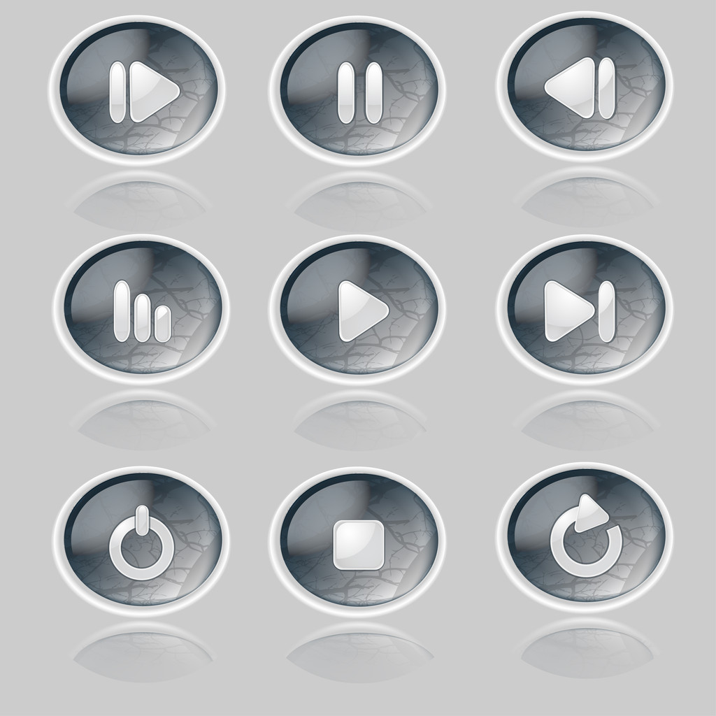 Media player buttons collection.