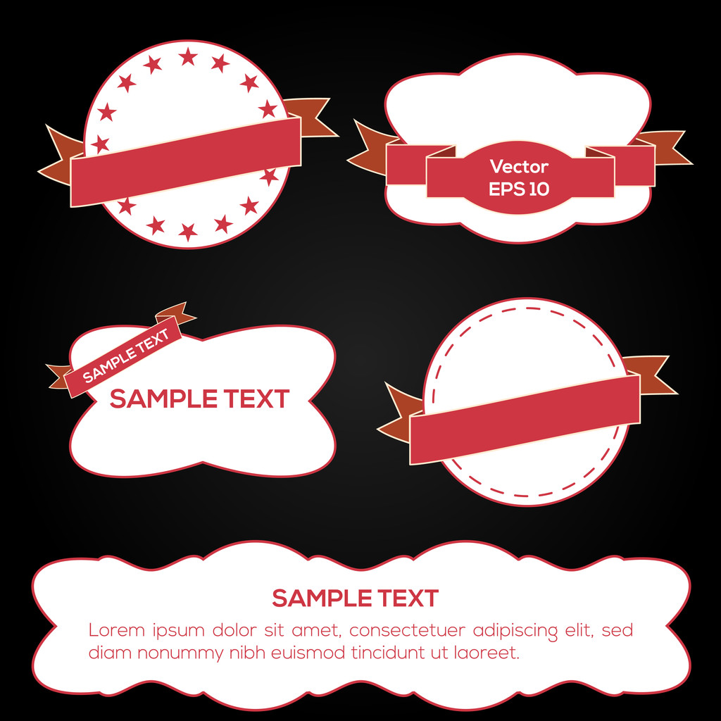 Set of vector ribbons and labels