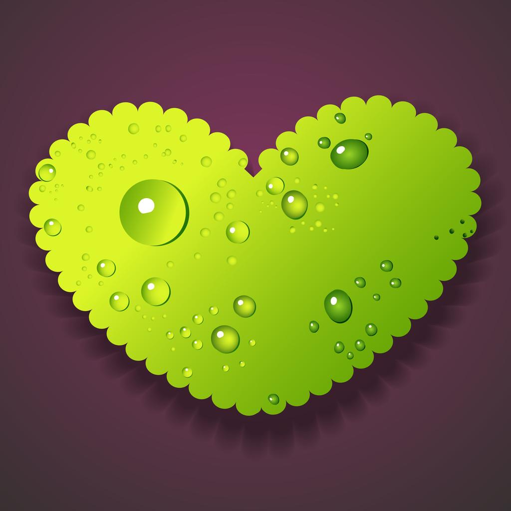Vector illustration of water drops heart
