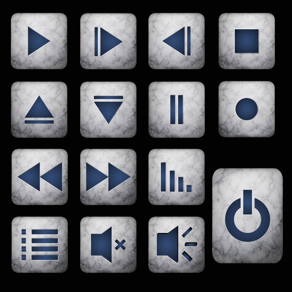 Media player gray buttons set