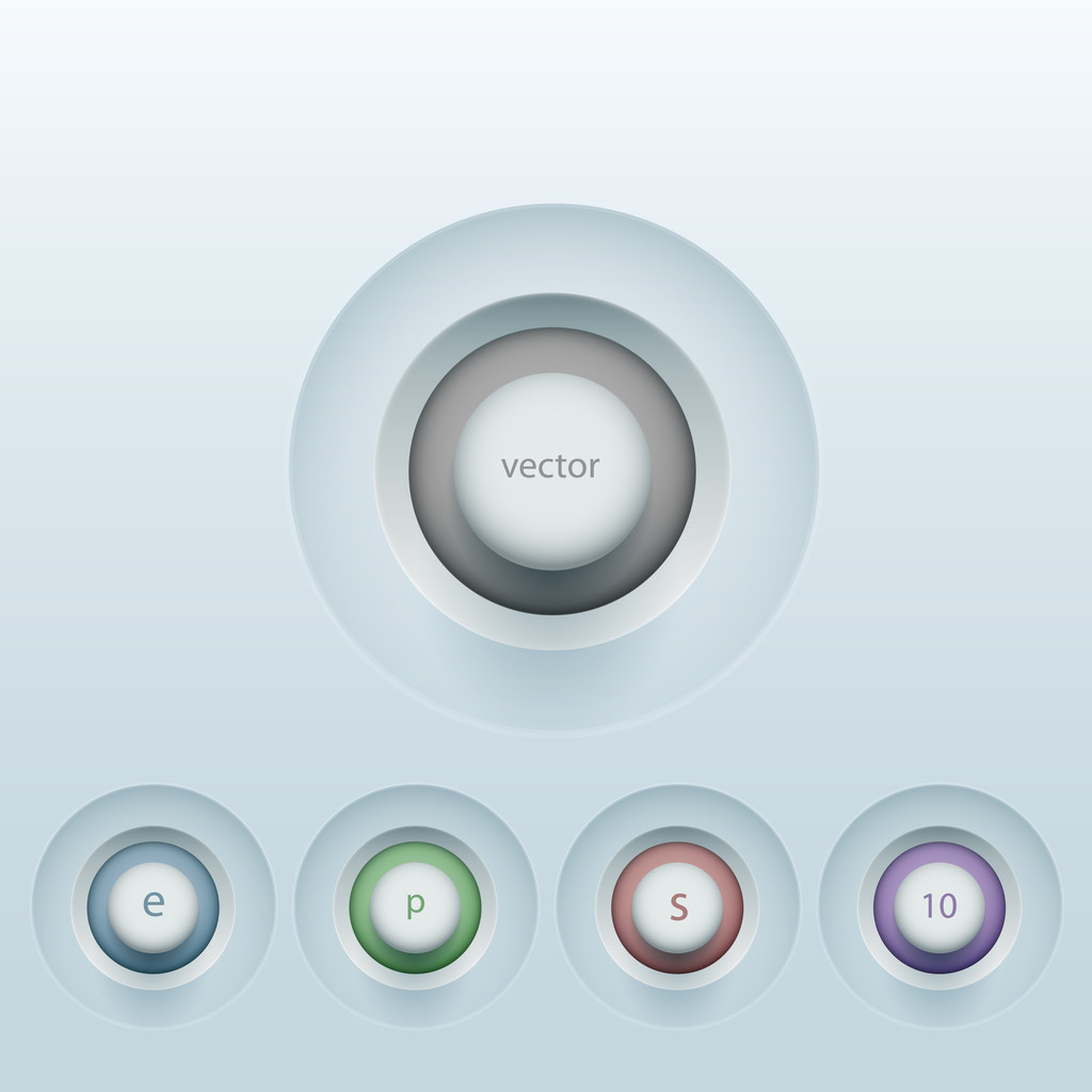 Set of colorful 3d buttons. Vector illustration.