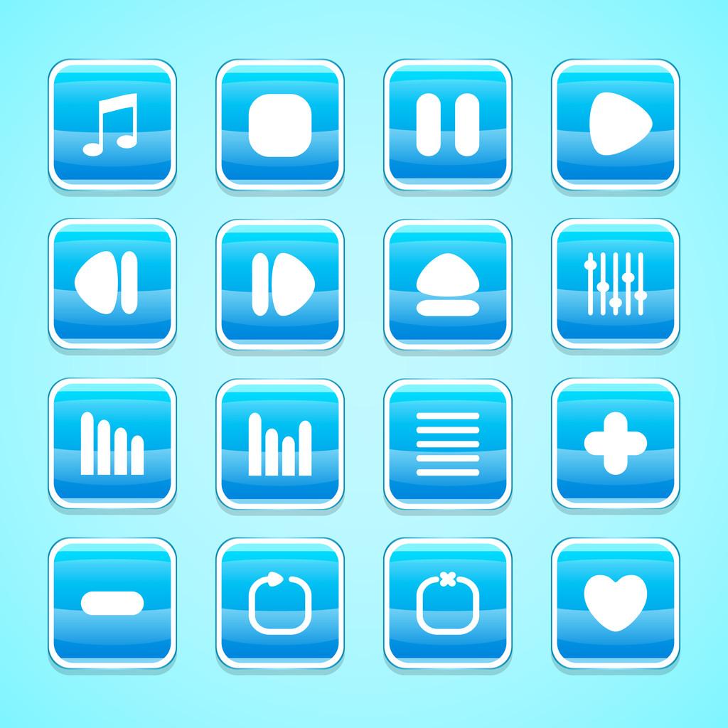 Media buttons, vector illustration
