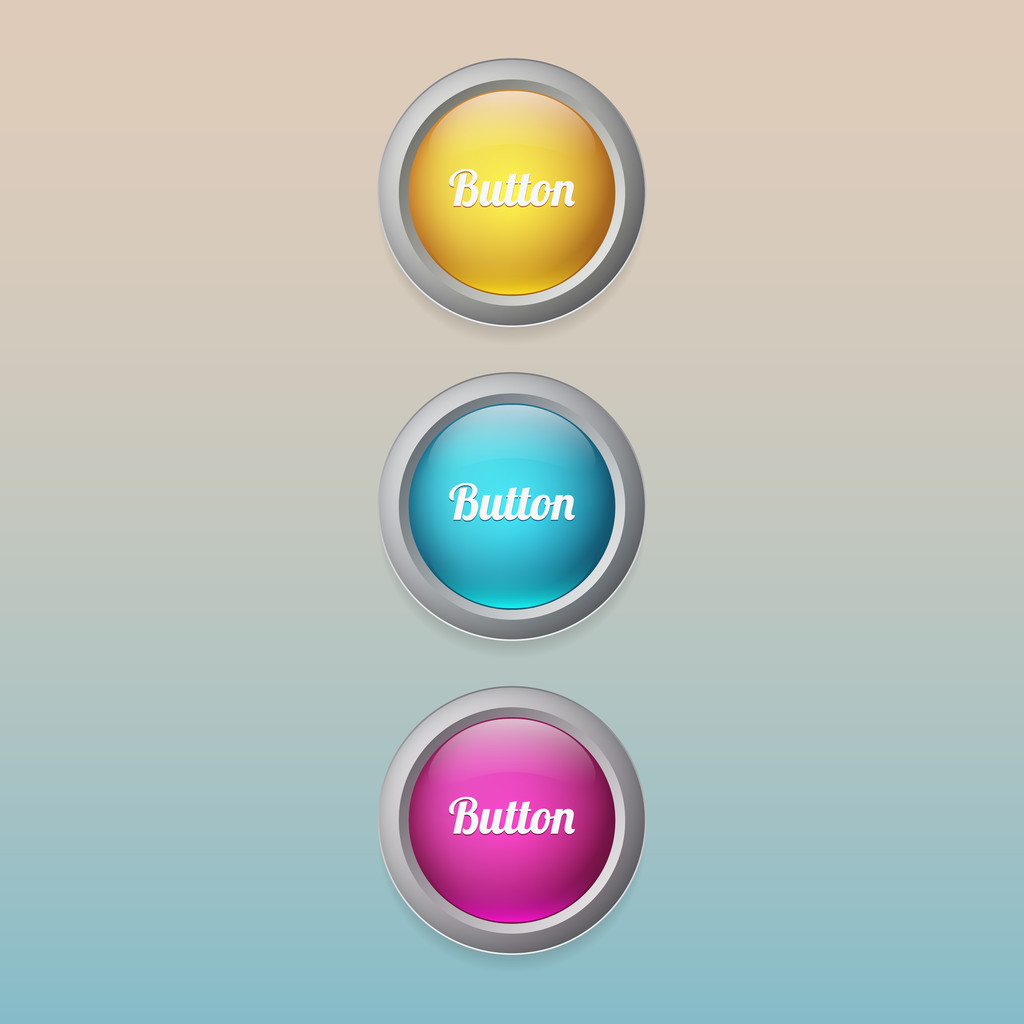 Vector colored buttons, vector illustration