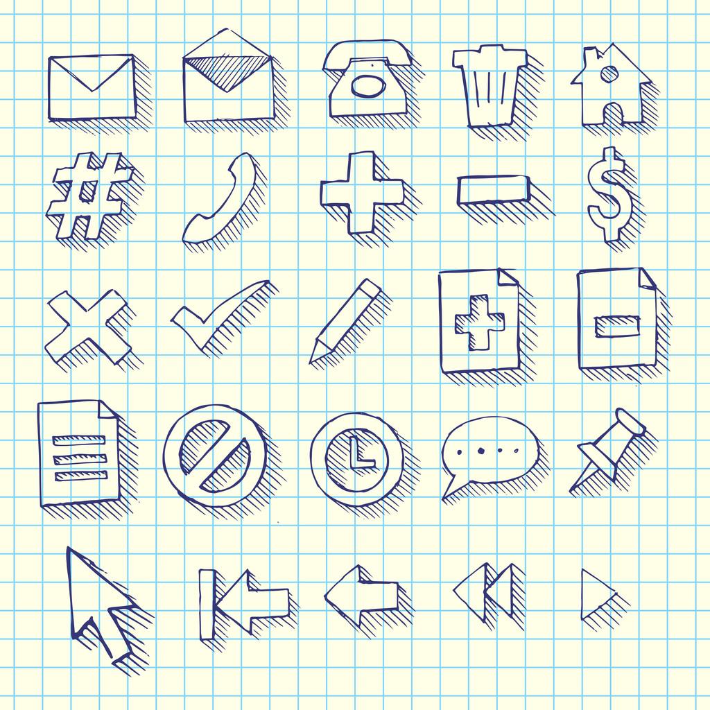 Sketchy Doodle Web Computer Icon Set - Back to School Style Notebook Doodles Vector Illustration Design Elements