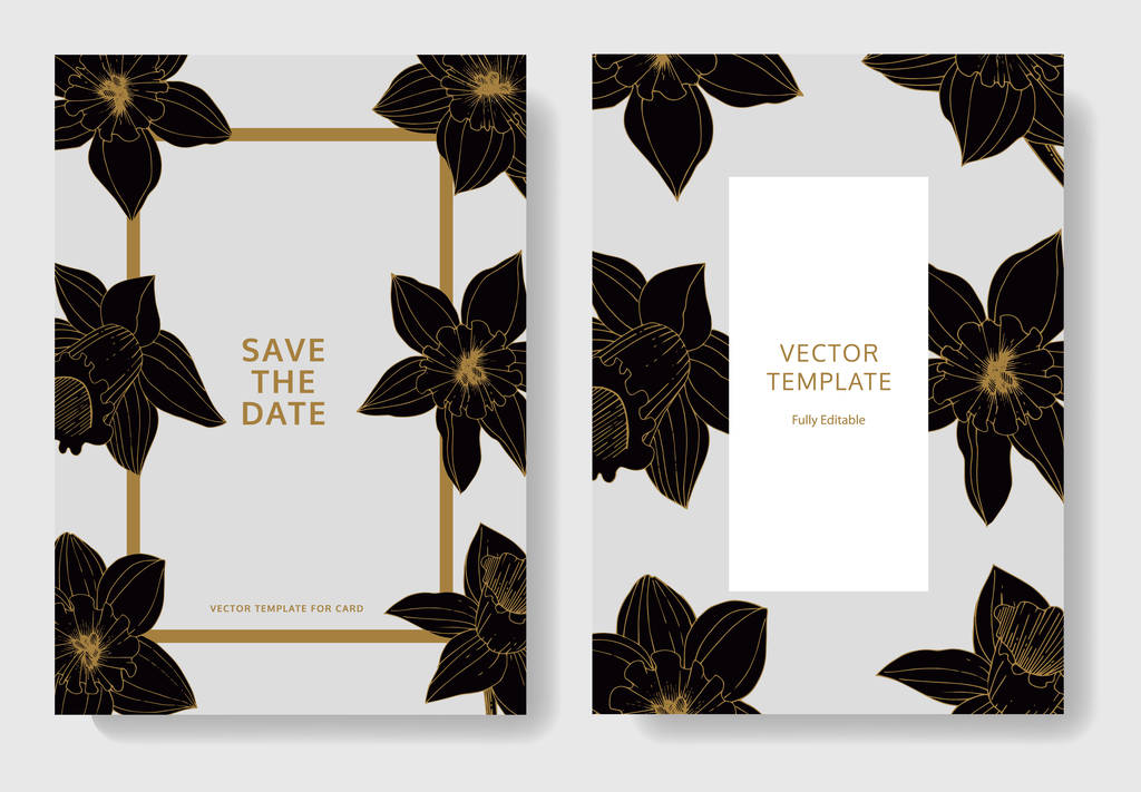 Vector Narcissus flowers. Wedding cards with floral decorative borders. Black and white engraved ink art. Thank you, rsvp, invitation elegant cards illustration graphic set banners.