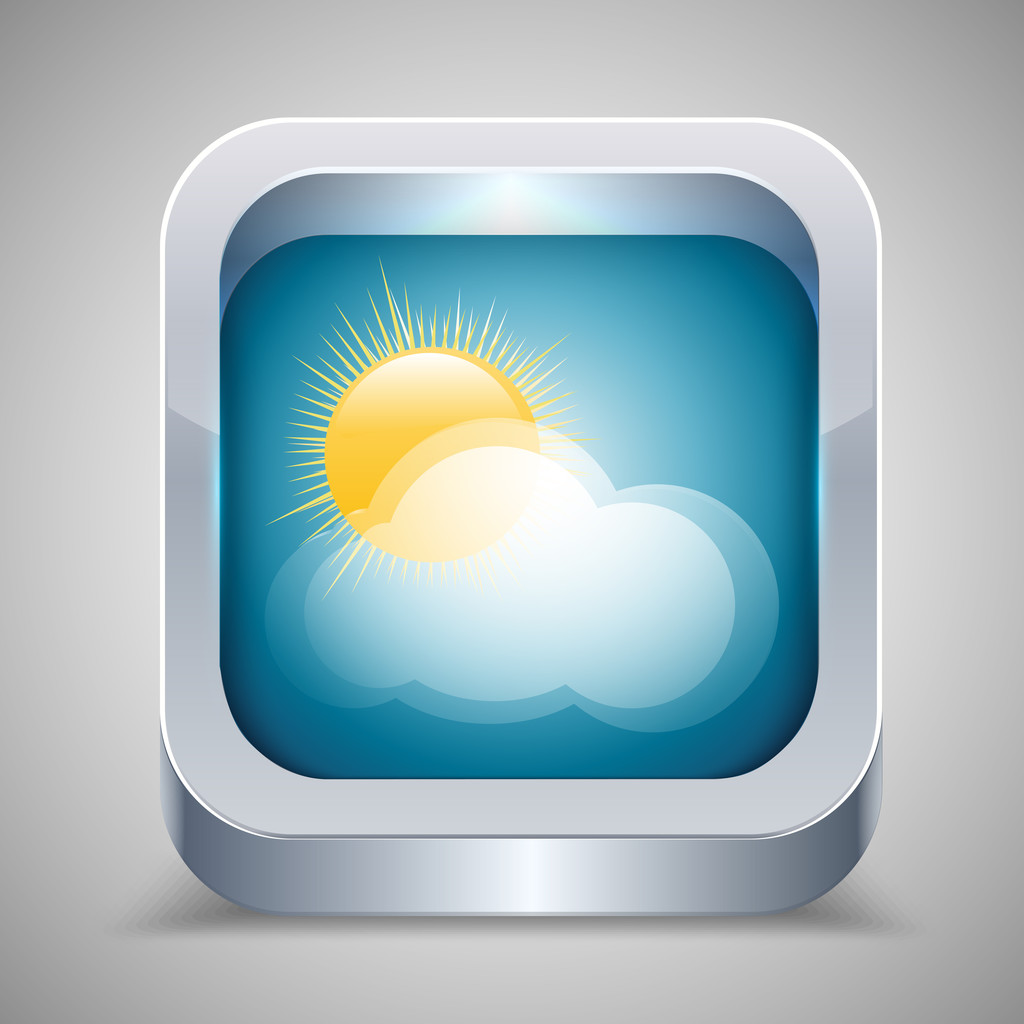 Weather icon with sun and cloud.