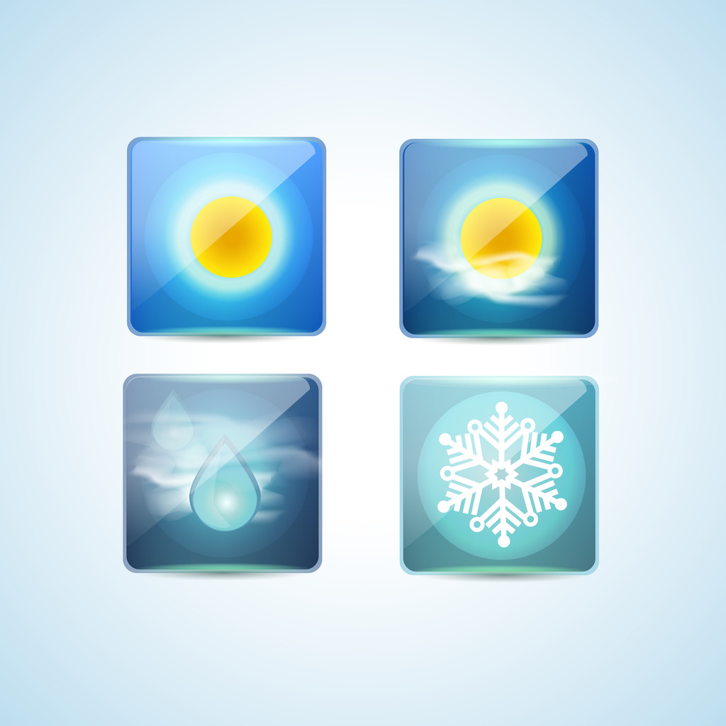 Weather icons over blue background. Vector illustration