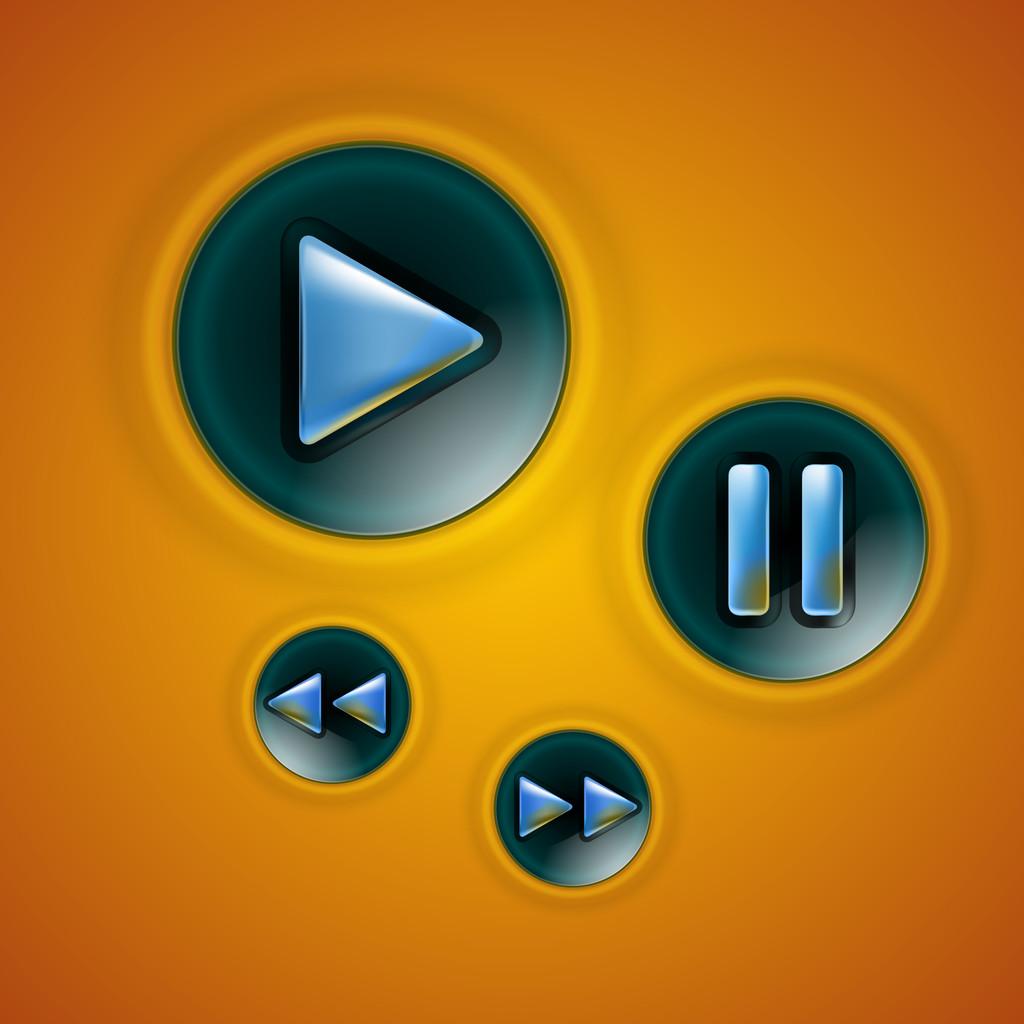 Multimedia Button interface, vector illustration