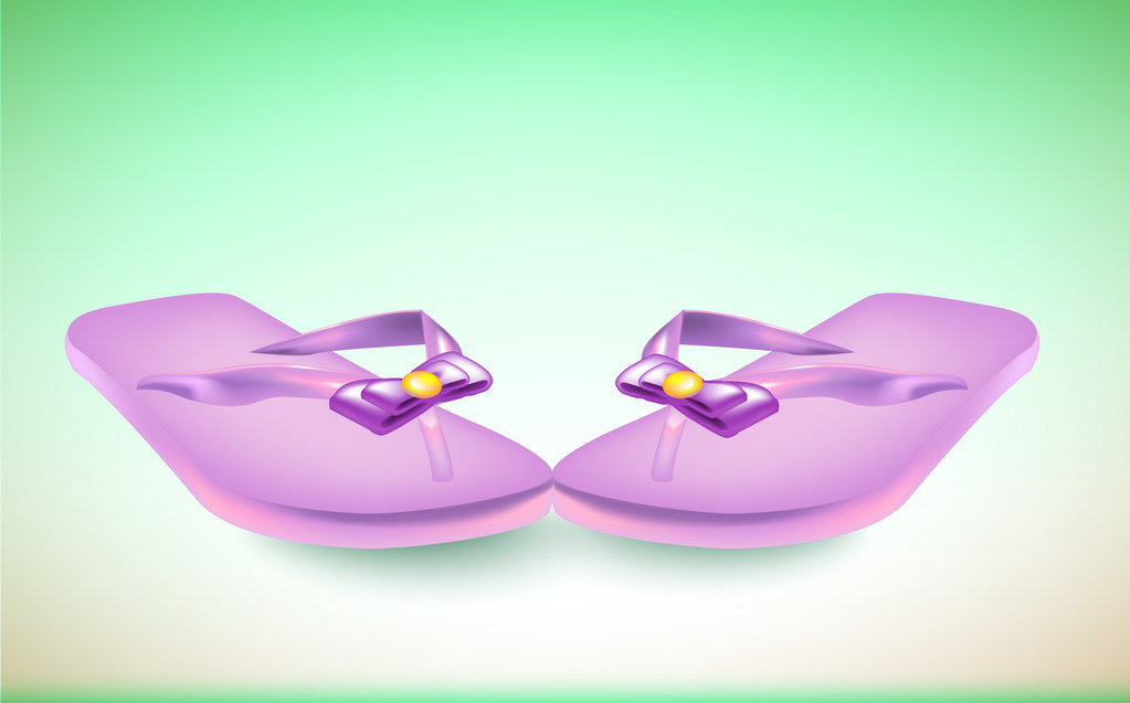 Vector pair of flip flops with bow