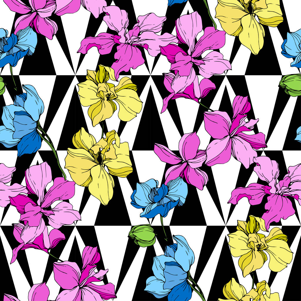 Beautiful yellow, blue and pink orchid flowers. Seamless background pattern. Fabric wallpaper print texture on white background.