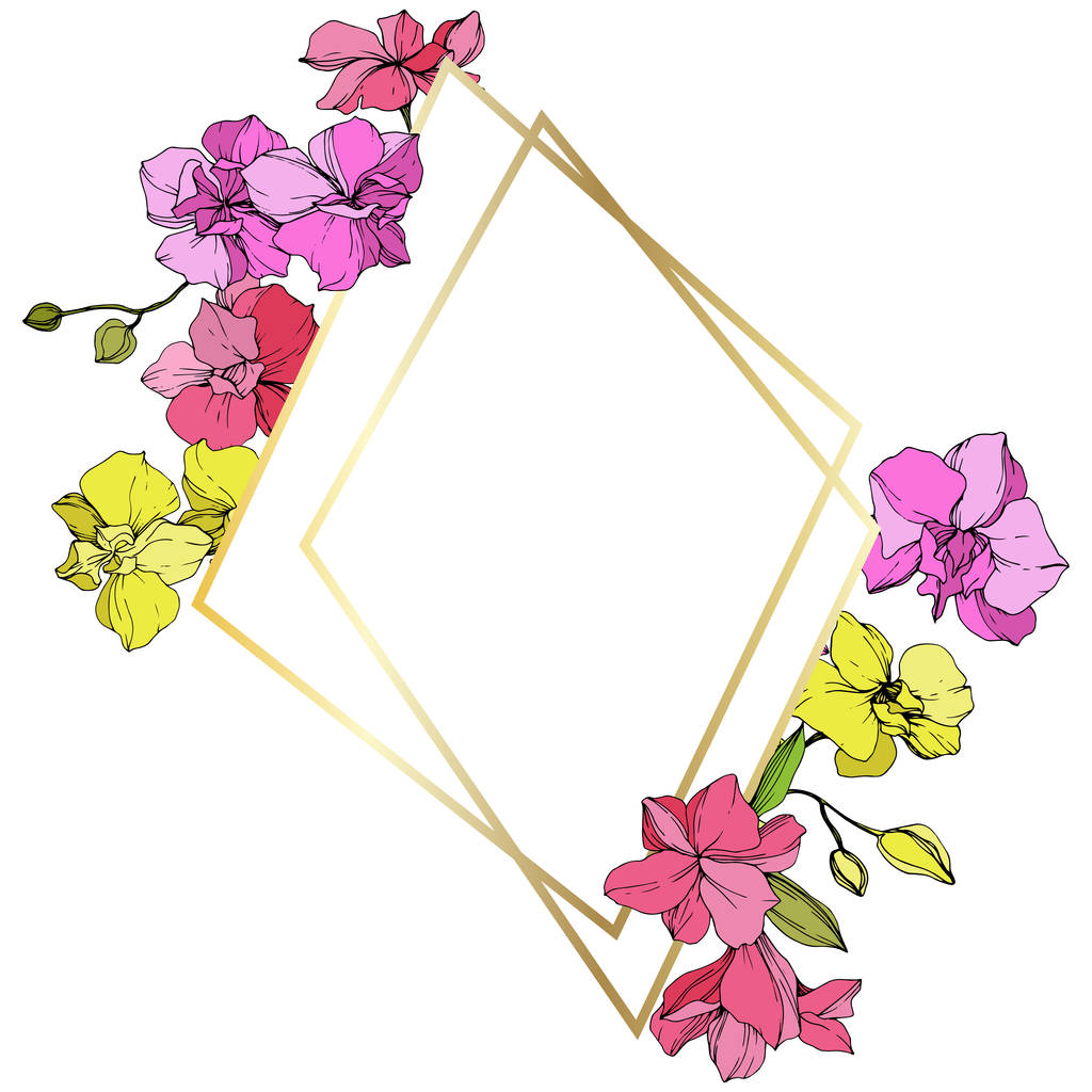 Beautiful pink and yellow orchid flowers. Engraved ink art. Frame golden crystal. Geometric polygon crystal mosaic shape.