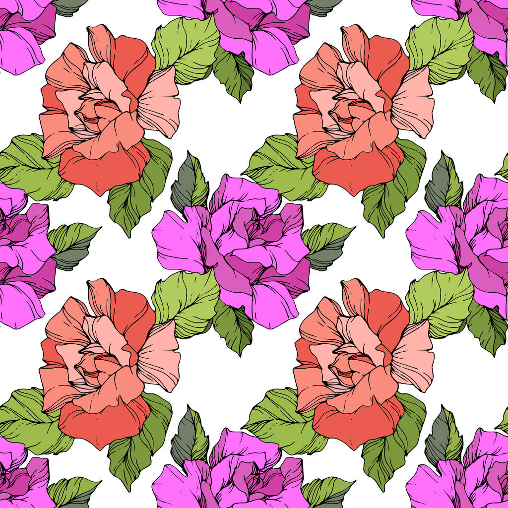 Coral and purple roses. Engraved ink art. Seamless background pattern. Fabric wallpaper print texture on black background.