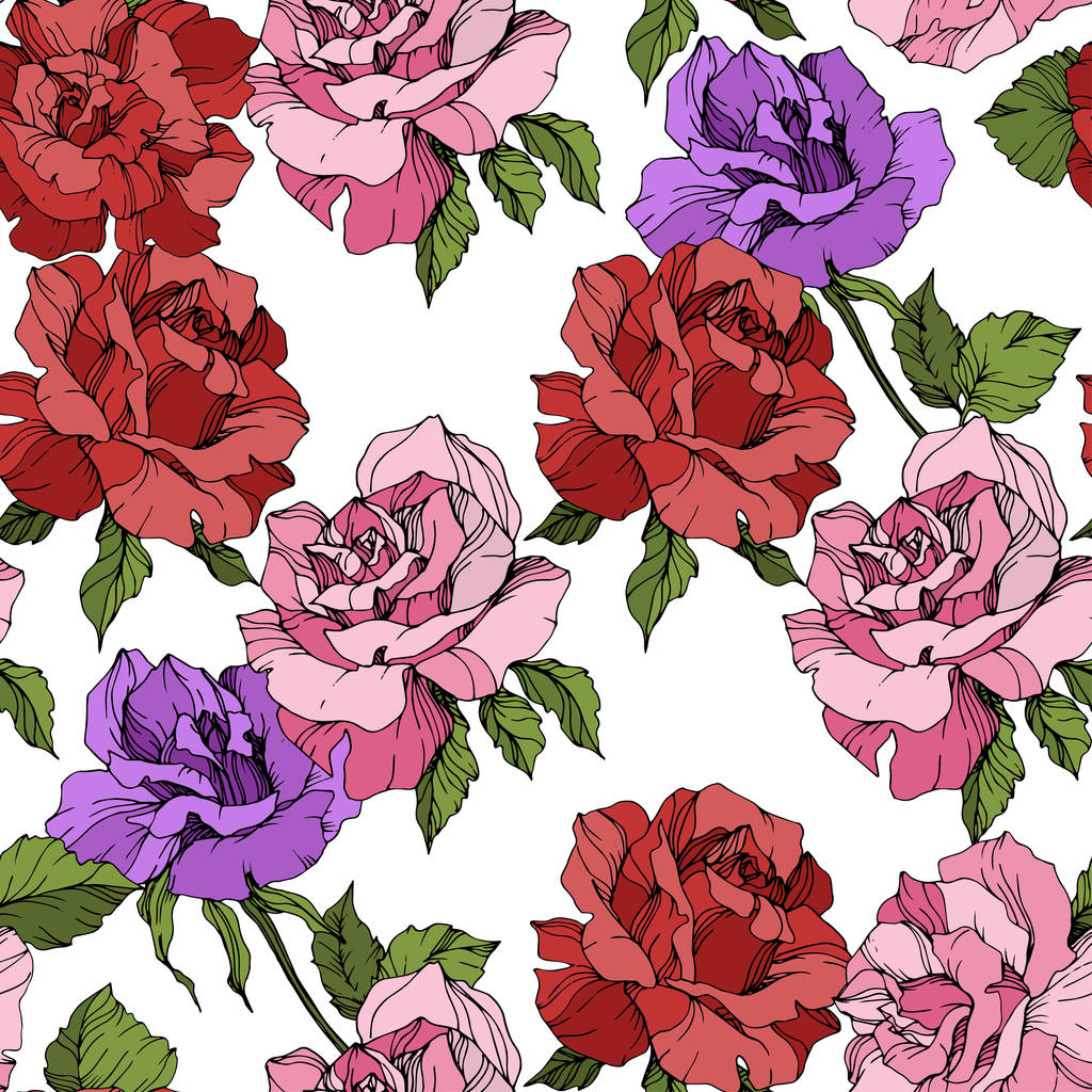 Pink, red and purple roses. Engraved ink art. Seamless background pattern. Fabric wallpaper print texture on white background.