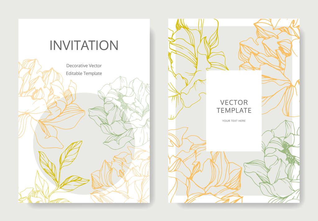 Vector peonies. Engraved ink art. Wedding background cards with decorative flowers. Invitation cards graphic set banner.