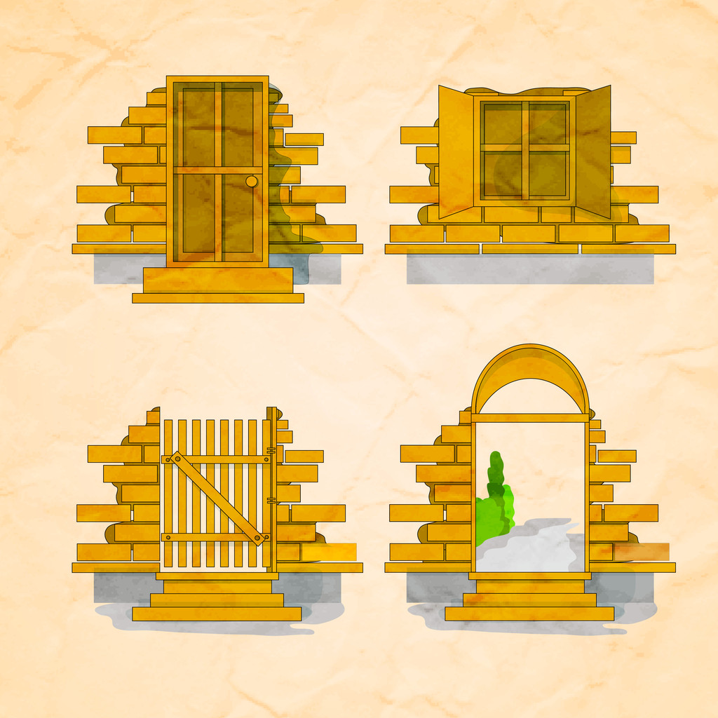 Illustration of a door and windows in and out version with bricks