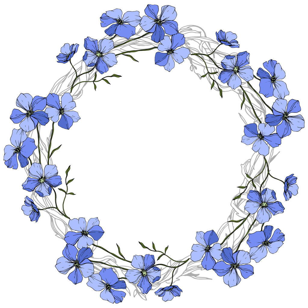 Vector Blue Flax floral botanical flower on white background. Wild spring leaf wildflower isolated. Engraved ink art. Frame border ornament square.
