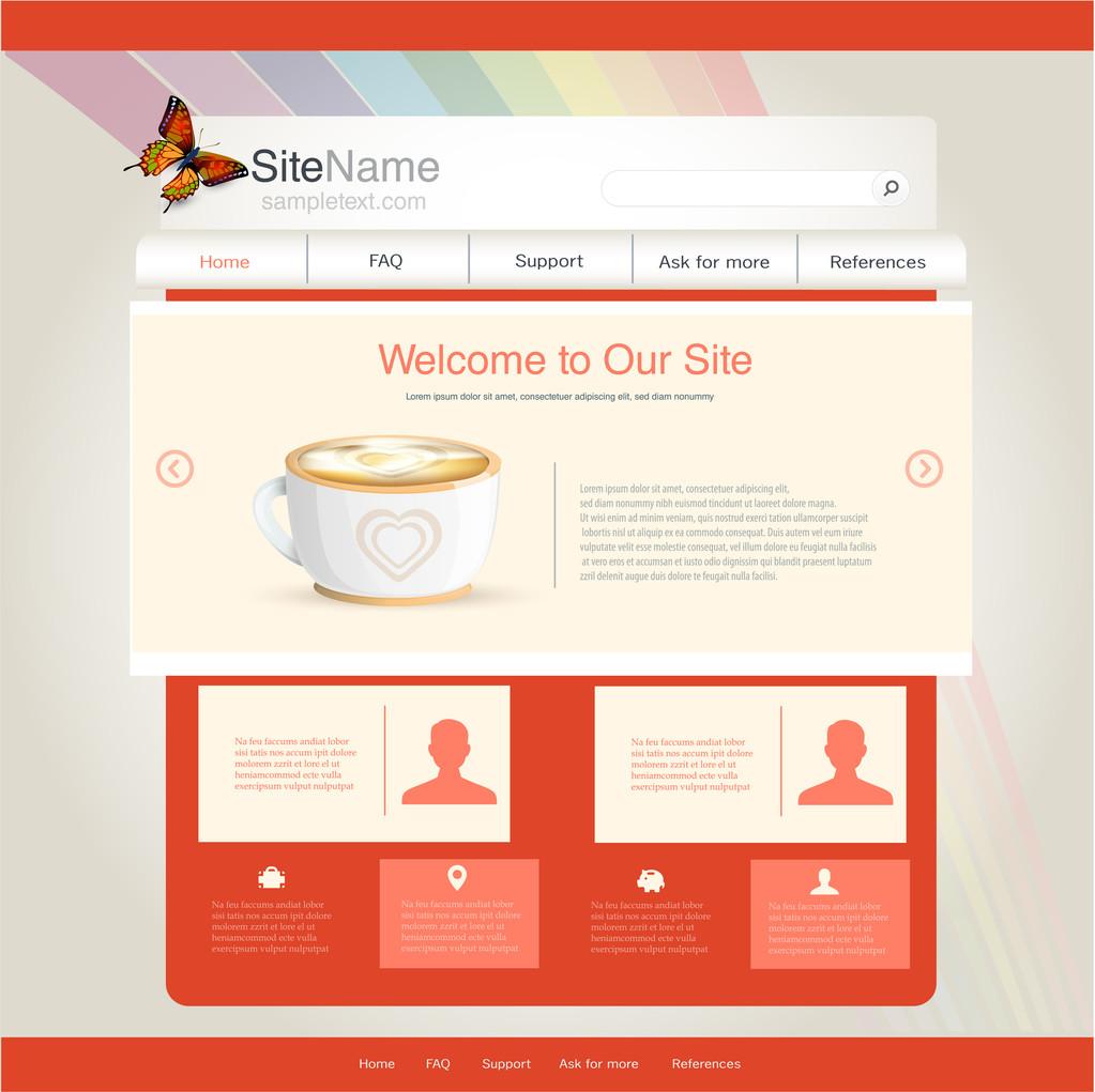 Vector website design template for cafe or restaurant