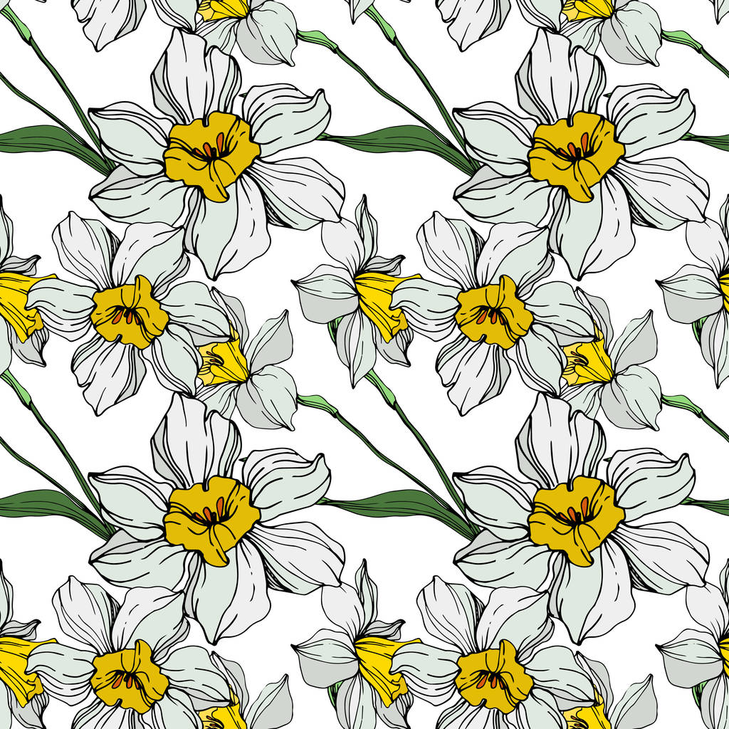 Vector white and yellow narcissus flowers with green leaves. Engraved ink art on white background. Seamless background pattern.