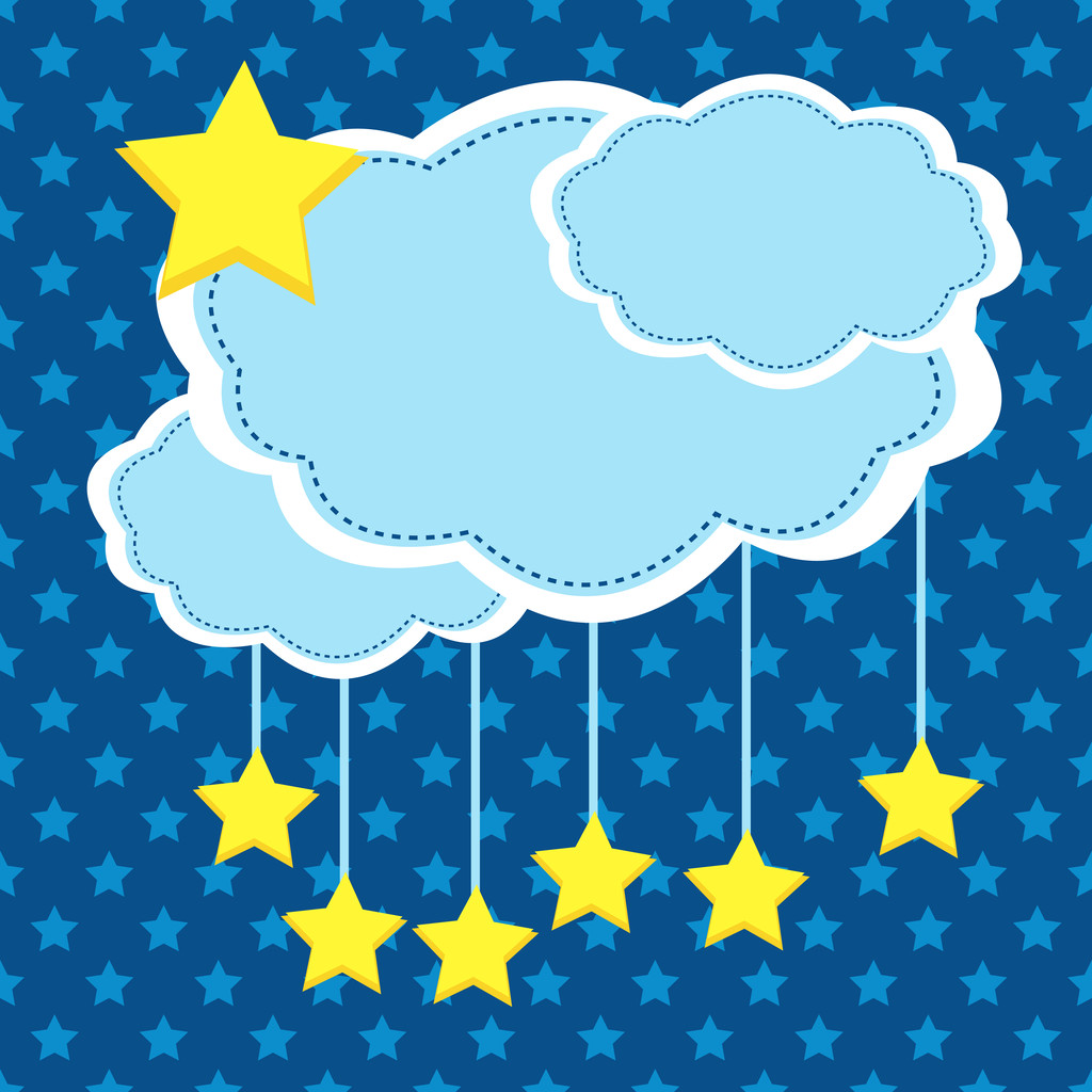 Night background with paper clouds and stars.