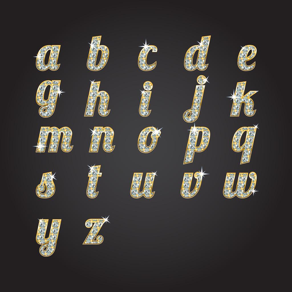 Vector golden alphabet with diamonds