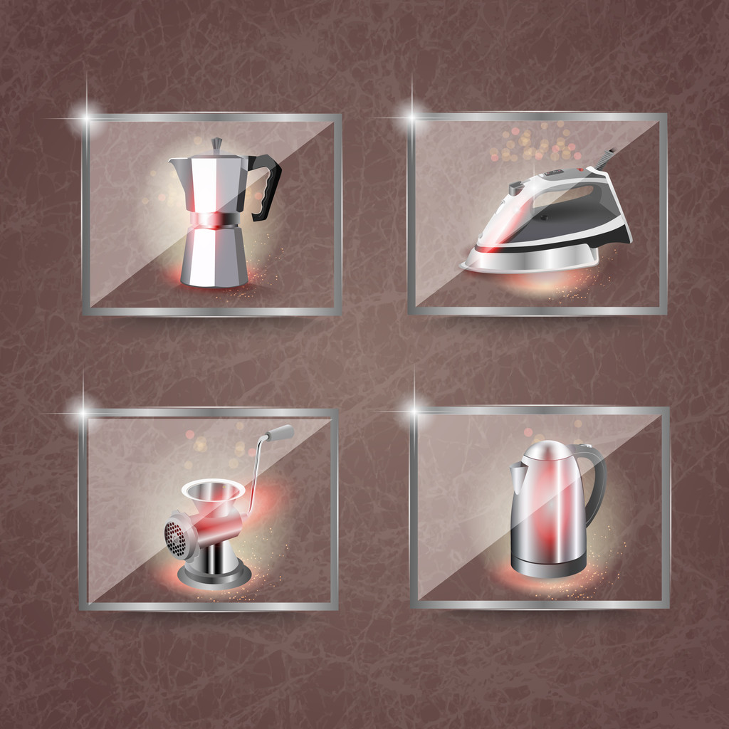 Icons set household appliances