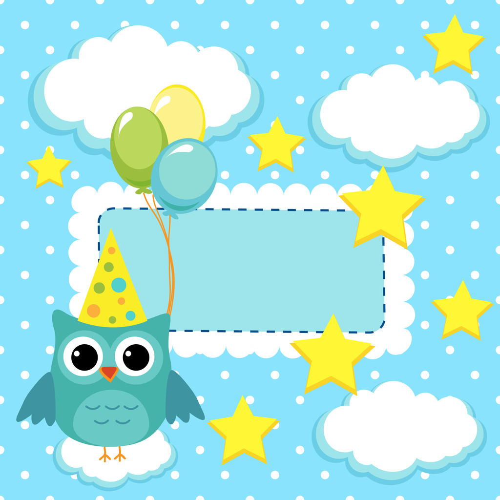 Owl with balls on a blue background
