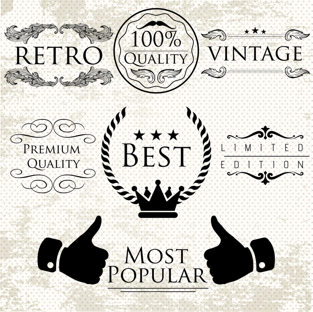Set of vintage vector labels for premium quality items